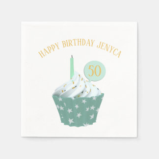 Happy 50th Birthday Cupcake Paper Napkins Paper Napkin