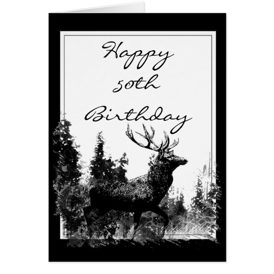 Happy 50th Birthday Custom Vintage Stag, Deer Card