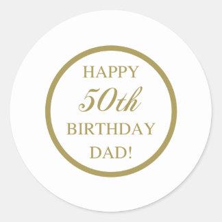 Happy 50th Birthday Dad Classic Round Sticker