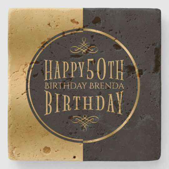 Happy 50th Birthday-Geometric Black & Gold Stone Coaster