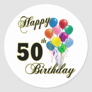 Happy 50th Birthday Gifts and Birthday Apparel Round Sticker