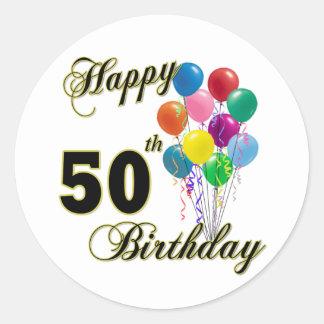 Happy 50th Birthday Gifts and Birthday Apparel Round Sticker
