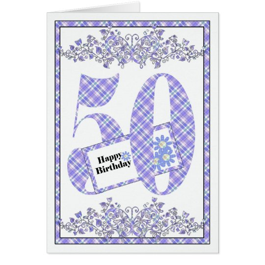 Happy 50th Birthday gingham card