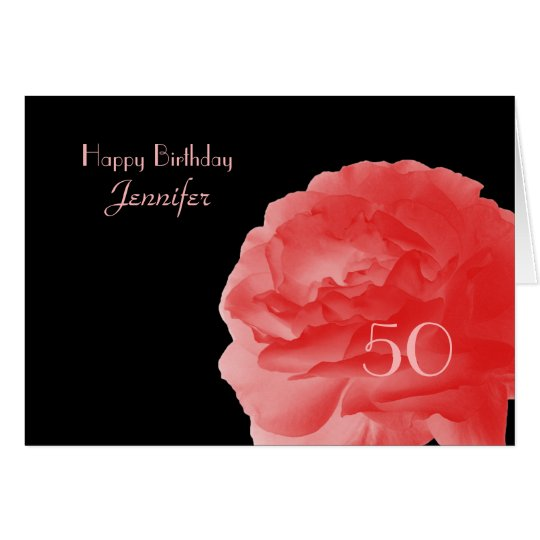 Happy 50th Birthday Greeting Card, Coral Pink Rose