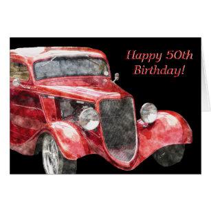 Happy 50th Birthday Half A Century Classic Car Card