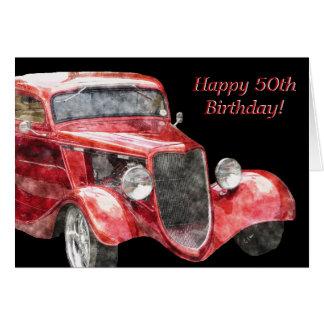 Happy 50th Birthday Half a Century Classic Car Greeting Card