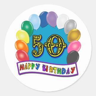 Happy 50th Birthday Merchandise Round Sticker