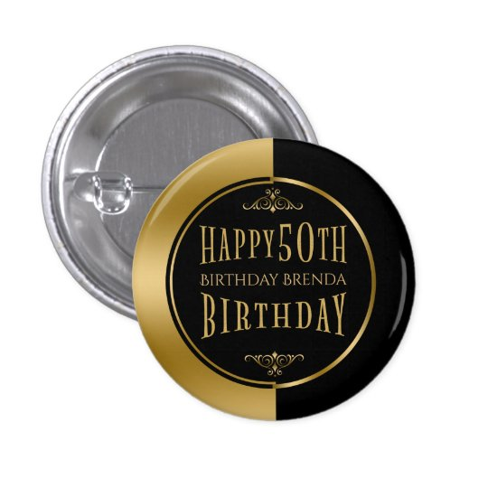 Happy 50th Birthday Modern Geometric Black & Gold