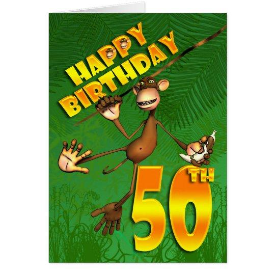 Happy 50th Birthday monkey swinging through the tr