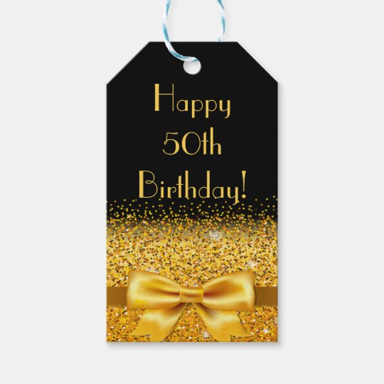 Happy 50th Birthday On Black With Gold Bow Sparkle Gift Tags