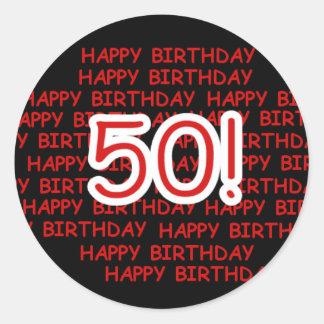 Happy 50th Birthday Round Sticker