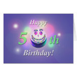 Happy 50th Birthday Smiley Cake Greeting Card