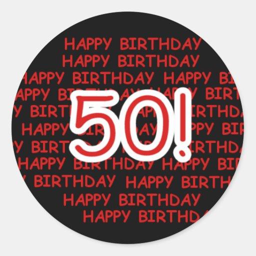 Happy 50th Birthday Stickers