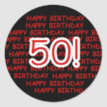 Happy 50th Birthday Stickers