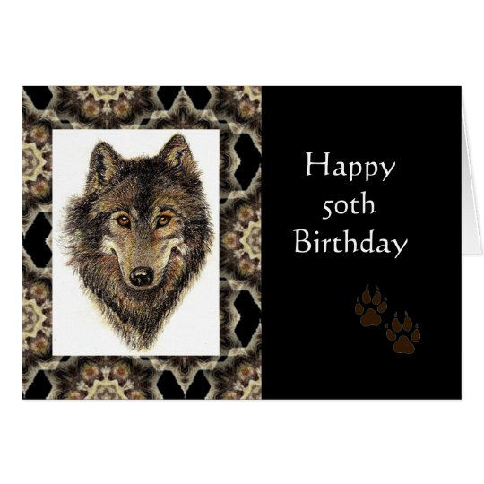 Happy 50th Birthday with Watercolor Wolf Card