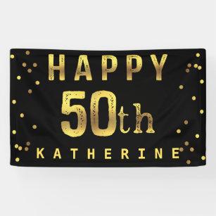 Happy 50th Faux Gold Foil Confetti Black Banner