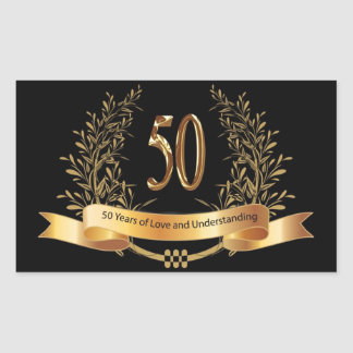 Happy 50th Wedding Anniversary Gifts Rectangular Sticker