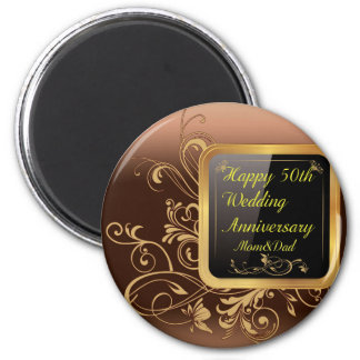 Happy 50th Wedding Anniversary Multi products sele 6 Cm Round Magnet