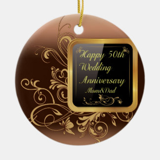 Happy 50th Wedding Anniversary Multi products sele Round Ceramic Decoration