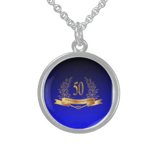Happy 50th Wedding  Sterling Silver Round Necklace