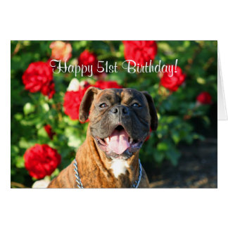 Happy 51st Birthday Boxer greeting card