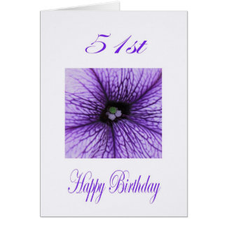 Happy 51st Birthday purple Blossom Card