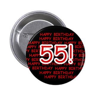 Happy 55th Birthday 6 Cm Round Badge