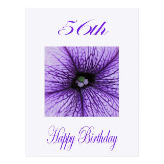 Happy 56th Birthday purple Blossom Postcard