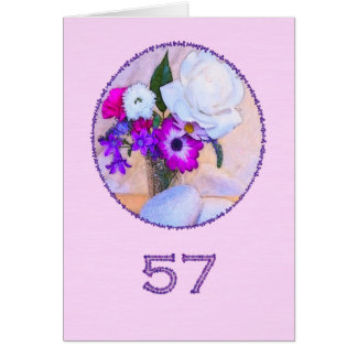 Happy 57th birthday with a flower painting greeting cards