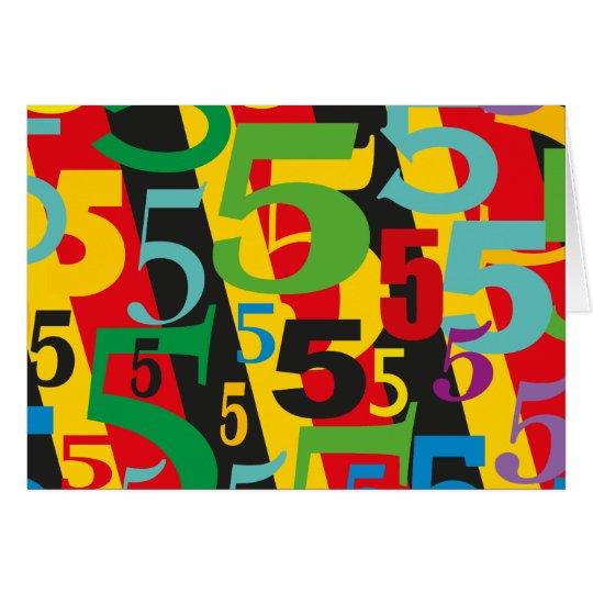 Happy 5th Anniversary, 55th Birthday, #5 Pattern Card