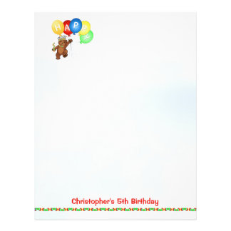 Happy 5th Birthday Bear Scrapbook Paper 4 Flyers