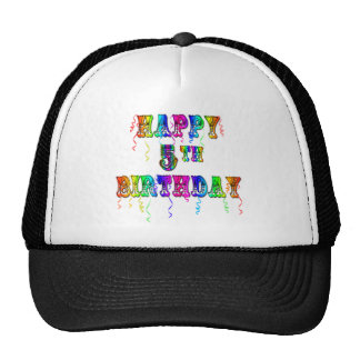 Happy 5th Birthday Gifts - Circus Font Hats
