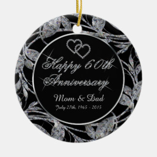 Happy 60th Anniversary Diamond Leaves DBL Sided Christmas Ornament