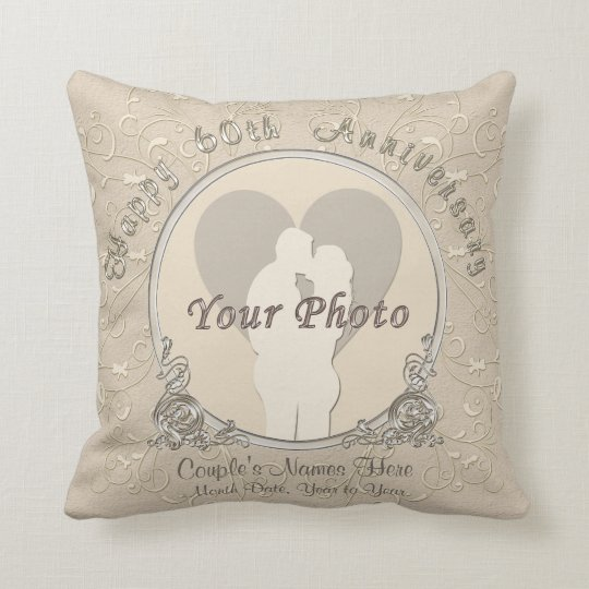 Happy 60th Anniversary Gifts PHOTO, NAMES, DATE Cushion
