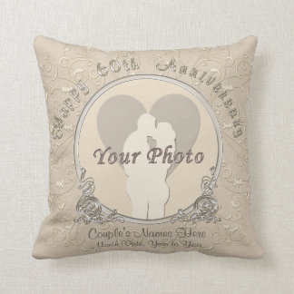 Happy 60th Anniversary Gifts PHOTO, NAMES, DATE Throw Pillow