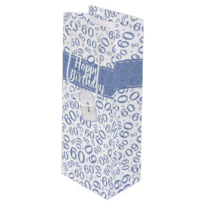 Happy 60th Birthday Blue and White Number Pattern Wine Gift Bag