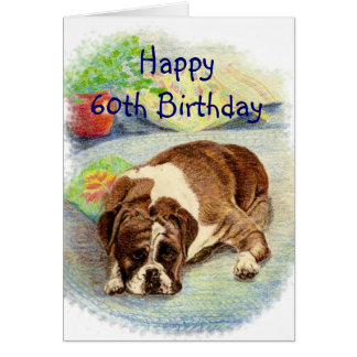 Happy 60th Birthday  Get Excited Humor Boxer Dog Greeting Card