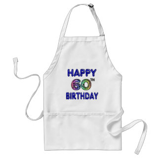 Happy 60th Birthday Gifts in Balloon Font Aprons