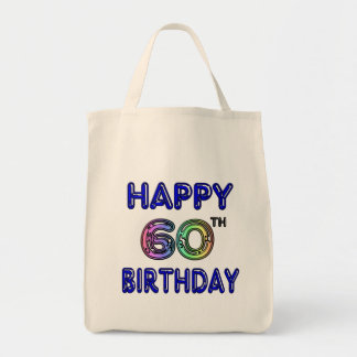 Happy 60th Birthday Gifts in Balloon Font Bag