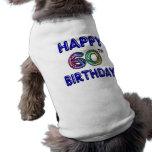 Happy 60th Birthday Gifts in Balloon Font Sleeveless Dog Shirt