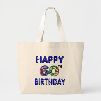 Happy 60th Birthday Gifts in Balloon Font Jumbo Tote Bag