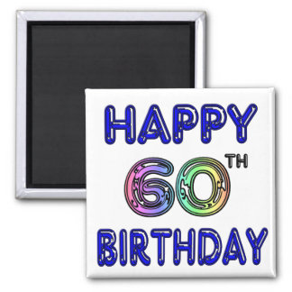 Happy 60th Birthday Gifts in Balloon Font Fridge Magnet