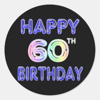 Happy 60th Birthday Gifts in Balloon Font Round Sticker