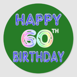Happy 60th Birthday Gifts in Balloon Font Round Sticker