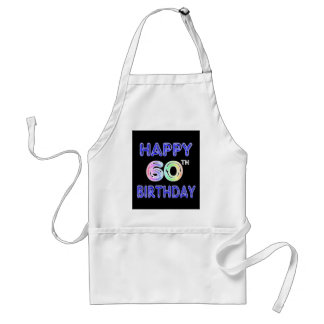 Happy 60th Birthday Gifts in Balloon Font Standard Apron