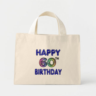 Happy 60th Birthday Gifts in Balloon Font Mini Tote Bag