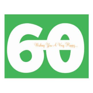 Happy 60th Birthday Milestone Postcards - in Green