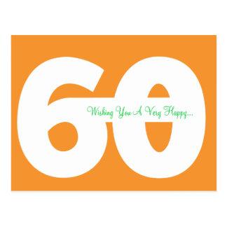 Happy 60th Birthday Milestone Postcards -in Orange