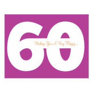 Happy 60th Birthday Milestone Postcards - Magenta