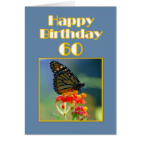 Happy 60th Birthday Monarch Butterfly Card